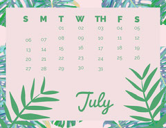 Pink and Green July Calendar with Plants Nature