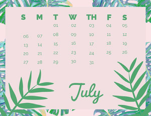 Pink and Green July Calendar with Plants Calendari