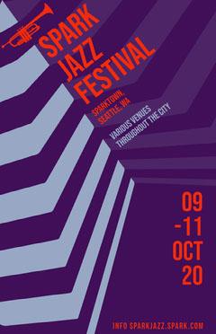 Violet Blue and Red Spark Jazz Festival Poster Jazz