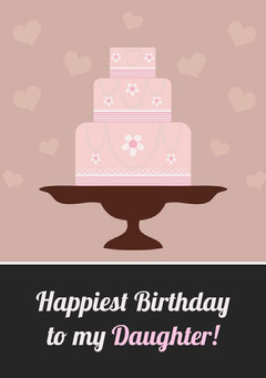 Pink Illustrated Happy Birthday Card for Daughter with Cake Birthday