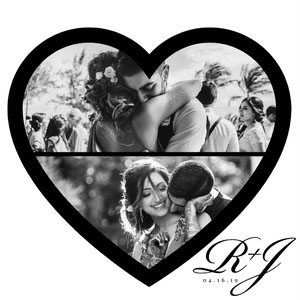 Black and White Two Panel Heart Collage Heart-Shaped Collage