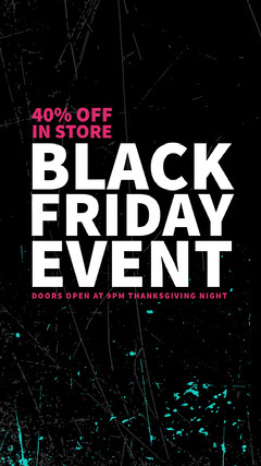 Black, White and Pink Black Friday Sale Instagram Story Thanksgiving Sale