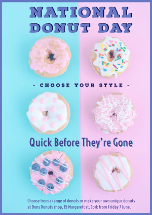 Violet Pink and Blue National Donut Day Flyer Pink Flyers