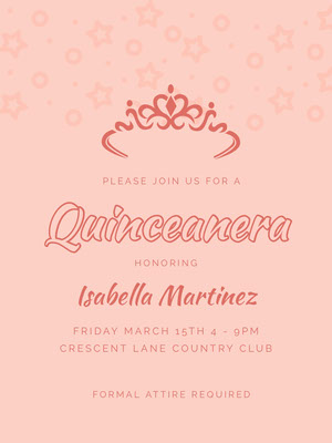 Pink Quinceanera Party Invitation Invitación de quinceañera
