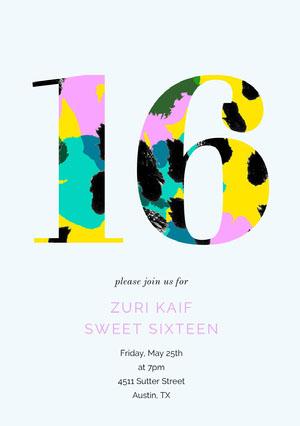 Multicolored Number Sweet Sixteen Birthday Invitation Card Sweet 16 Invitation