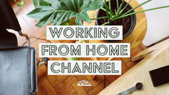 White Rectangle Working From Home Youtube Channel Art with Desk Photo Sweet Home
