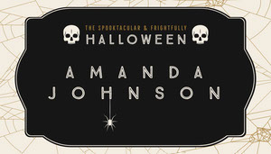 Black, White and Gold, Dark, Scary, Halloween Party Name Tag, Place Card Halloween Party