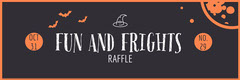 Orange and Black Bats and Moon Halloween Party Raffle Ticket Halloween Raffle Ticket