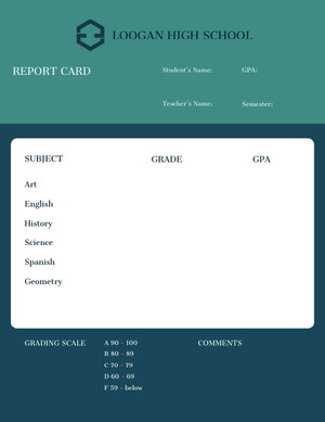 White Green and Navy Blue Empty Report Card Report Card