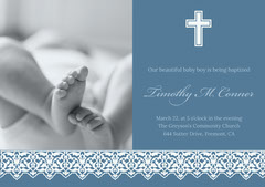 Blue Baptism Announcement and Invitation Card with Feet of Baby Baptism