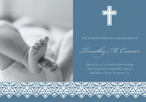 Blue Baptism Announcement and Invitation Card with Feet of Baby Kastajaiskutsu