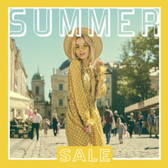 Yellow Summer Fashion Outdoor Instagram Square Holiday Sale
