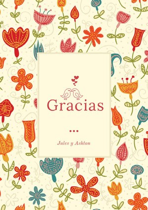 colorful floral and cream wedding thank you cards Tarjeta de agradecimiento