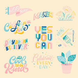 Pink and Colorful Catchphrase Stickers Instagram Post Illustration and Sticker Collection