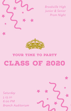 Pink High School Prom Flyer with Crown and Confetti Back to School