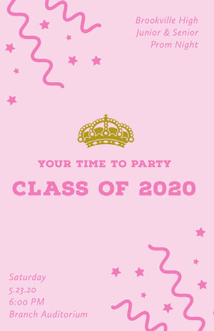 Pink High School Prom Flyer with Crown and Confetti Pink Flyer