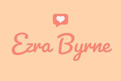 Orange Calligraphy Valentine Name Tag Heart