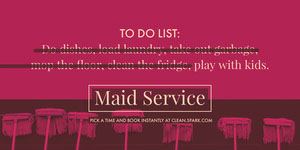 Purple Maid Service Ad Flyer with Mops Pink Flyers
