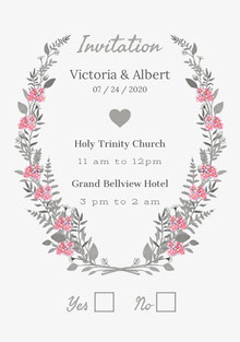Pink and Gray Floral Wedding Invitation Partecipazioni di matrimonio