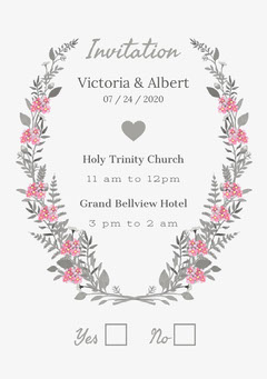 Pink and Gray Floral Wedding Invitation Flowers