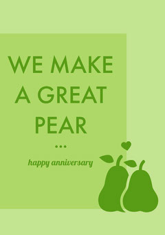 Green Pear Pun Happy Marriage Anniversary Card Couple