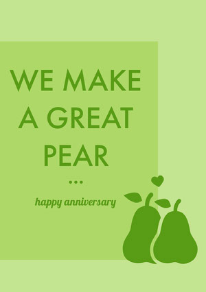 Green Pear Pun Happy Marriage Anniversary Card 기념일 카드