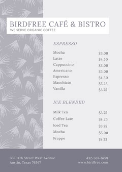 Pale Blue Cafe and Bistro Menu with Plant Pattern Coffee Menu