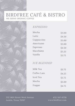 Pale Blue Cafe and Bistro Menu with Plant Pattern Cafe Menu