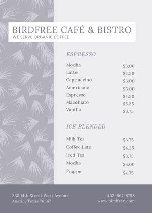 BIRDFREE CAFÉ & BISTRO  Cafe Menu