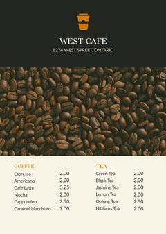 Black With Fresh Coffee Beans Cafe Menu Coffee Menu