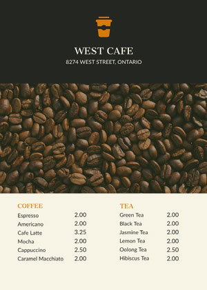 Black With Fresh Coffee Beans Cafe Menu カフェ メニュー