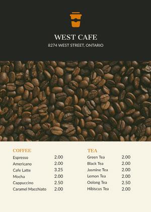 Black With Fresh Coffee Beans Cafe Menu Cafe Menu