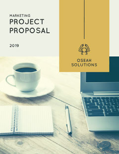 Marketing Project Business Proposal with Picture of Office Desk Marketing
