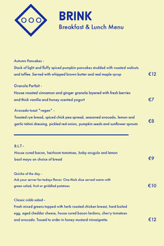 Yellow and Blue Simple Breakfast and Lunch Restaurant Menu Breakfast