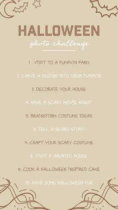 brown white cream halloween photo challenge interactive instagram story  Movie Night Flyer