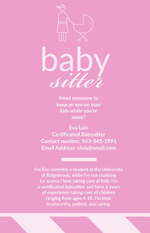 Pink Illustrated Babysitter Ad Flyer Pink Flyers