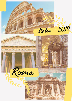 Yellow and Blue, Warm Toned, Italy Travel Ad, Poster Scrapbook Maker