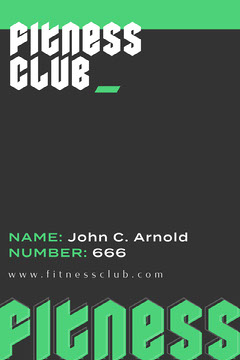 Grey with Green, Gothic Letters, Fitness Club Membership Card Fitness