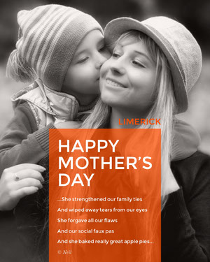 Orange and Black and White Mothers Day Limerick Instagram Portrait Graphic Poem/Poetry
