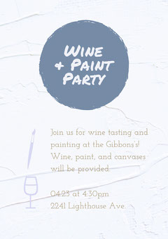 Blue Wine and Paint Party Invitation Card Wine Tasting Flyer