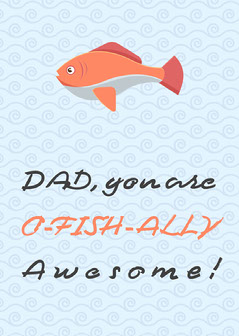 orange blue fish water funny father day card Fish