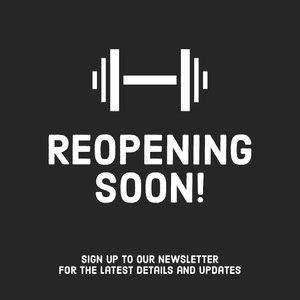 Black and White Barbell Illustration Gym Reopening Announcement Instagram Square Graphic COVID-19 Re-opening