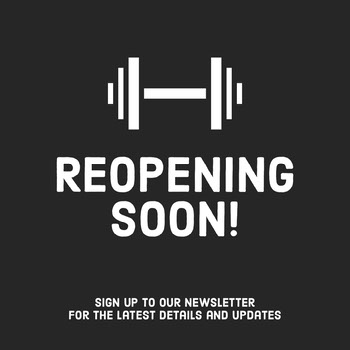 Black and White Gym Reopening Announcement COVID-19 Re-opening