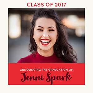Red and White Graduation Announcement Instagram Post  Karte zum Schulabschluss