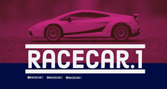 Purple and Blue Sports Car Driving Game Twitch Banner Car