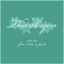 green floral script thank you card  Bryllupstakkekort