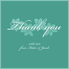 green floral script thank you card  Thank You Card