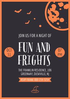 Orange and Black Bats and Moon Halloween Party Invitation Card Moon