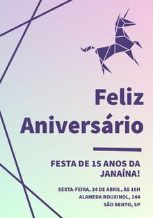 purple and green gradient unicorn birthday cards  Cartão de aniversário