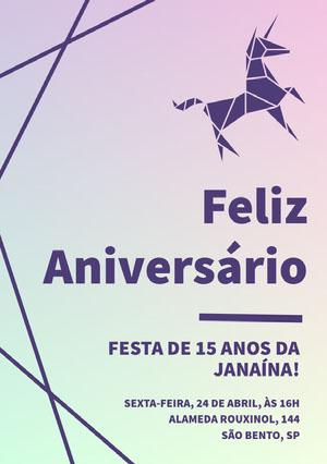 purple and green gradient unicorn birthday cards  Convite de aniversário de unicórnio